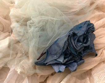 Vintage Blue Millinery Flowers Hair Comb Faded Satin Taffeta Fabric Roses Pale Blue Net Hat Fascinator Accessory Fashion Shabby Chic Worn