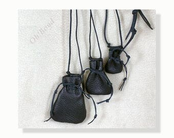 Tiny Drawstring Necklace Pouch Hand Stitched Deerskin Spiritual Medicine Pouches for Man or Woman