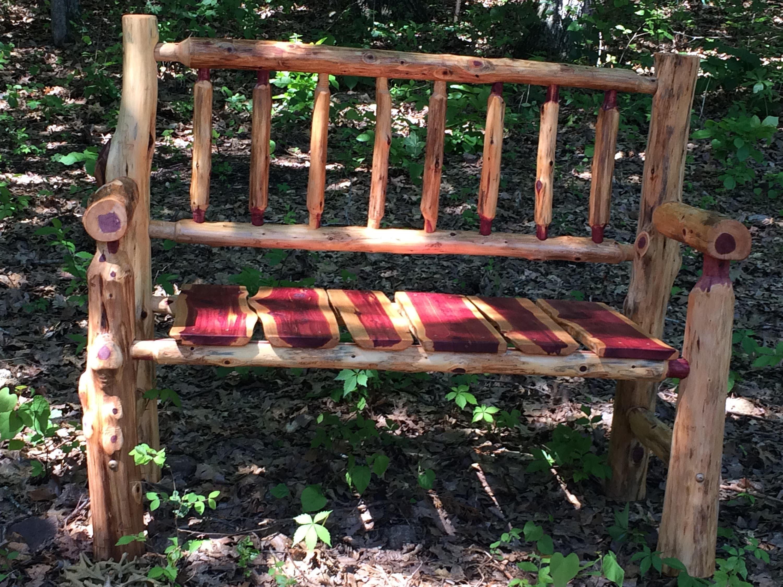 Free Shipping 4 Foot Rustic Log Porch Bench Cedar Bench Fire