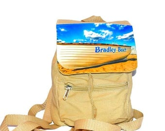SALE Bradley Beach New Jersey Mini Drawstring Backpack / Mini Beach Bag / Black Nylon, Khaki Canvas, or Blue Denim / Slouchy Straps
