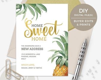 Pineapple Moving Announcement - Change of Address Card, Home Sweet Home, Instant Download, New Address Announcement, New Home, We've Moved