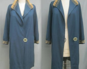 """Rare Vintage 1920s FLAPPER Era COAT w. Issues  GATSBY French Blus One-Button Style Fur Trim Wearable Size Bust 42"""""""