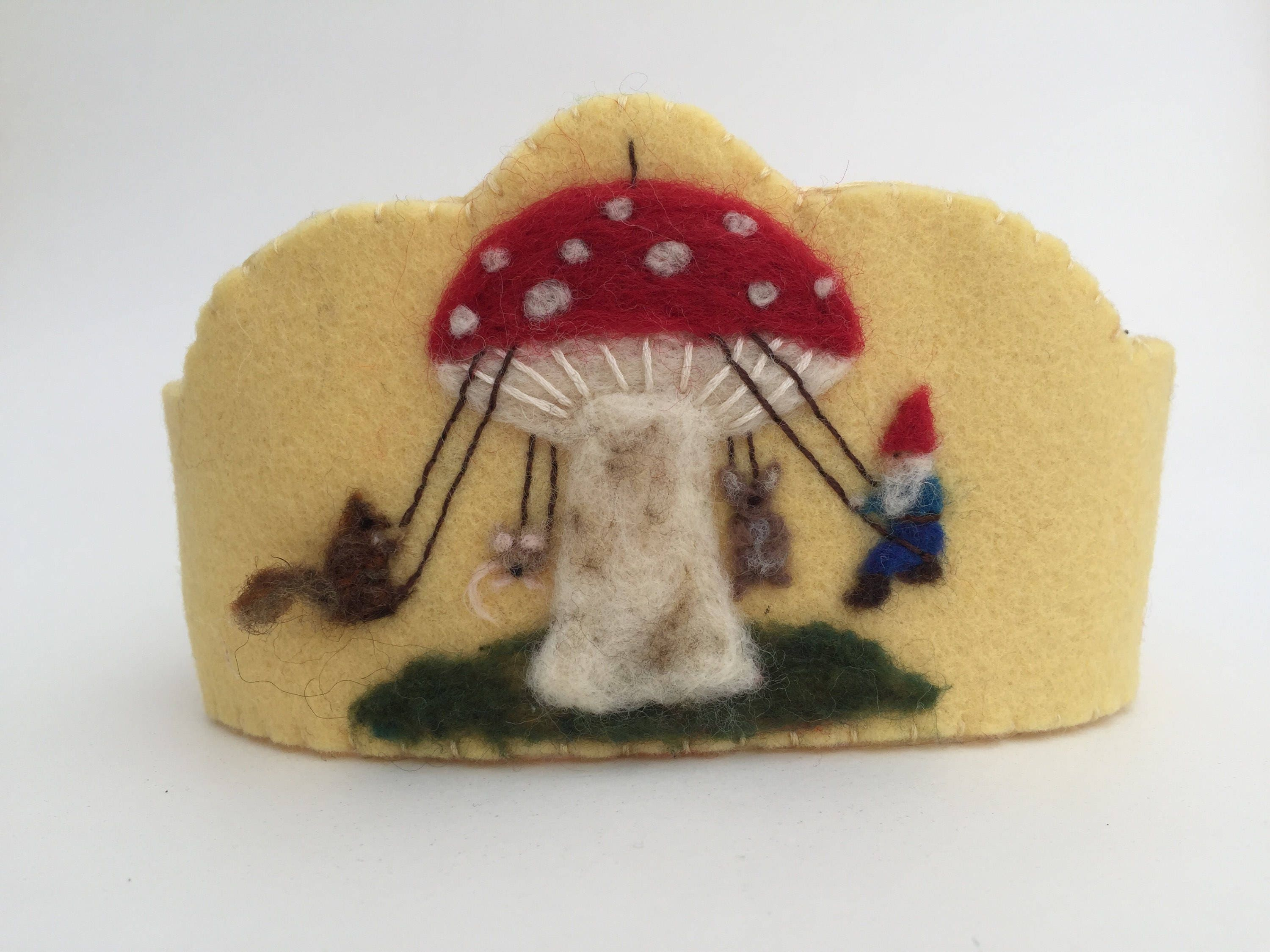Felt Crown, Birthday Crown, Waldorf Crown - Toadstool Swing