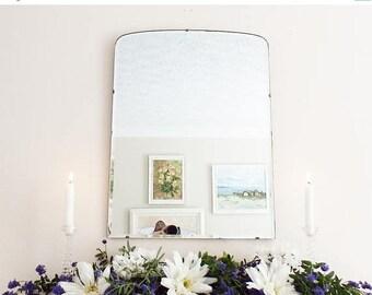 SALE Antique Mirror Vintage Mirror Mid Century mirror Frameless Modernist Mirror Bevelled edge bevelled mirror M205