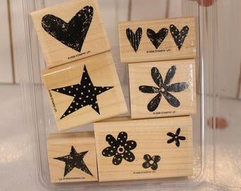Stampin Up Love it (Set 1) set of stamps for Scrapbooking or Card Making Flower stamps hearts Dots Stars