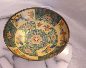 Vintage Canton Compote Bowl Made in England Floral #136 blue and cream color