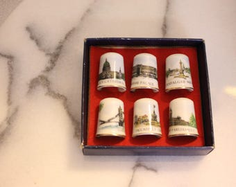 Set of Eight Bone China Thimbles, Six in Original box Made in Japan and Germany