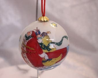 Vintage Hand Painted Glass Christmas Ornament Santa Clause Stars Moon 1990