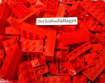 50 Red Lego Bricks and Plates - Bulk Parts & Pieces Lot