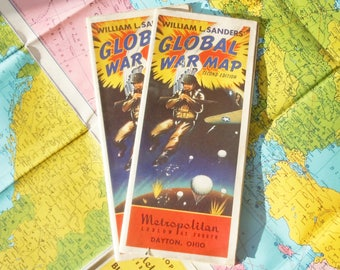 Global War Map / 3 Copies of a Vintage Map of World Conflict in the 1940's / Interesting Insight / Printed by a Menswear Store
