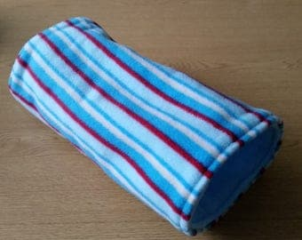 READY TO SHIP! Blue Stripe Fleece Tunnel for Hedgehogs/Rats/Guinea Pigs