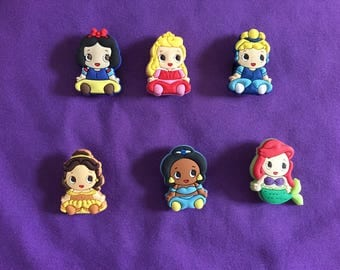 6-pc Disney Baby Princesses Shoe Charms for Crocs, Silicone Bracelet Charms, Party Favors, Jibbitz