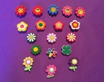 18-pc Flower Shoe Charms for Crocs, Silicone Bracelet Charms, Party Favors, Jibbitz