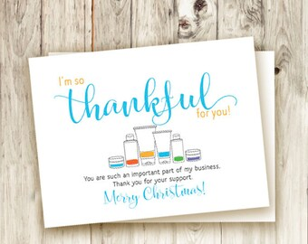 Business Christmas Thank You Card - Printable - Instant Download - Thankful - Holiday - Skin - Handwritten - Rodan and Fields Products