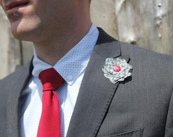 Black Grey Lapel Flower Red Button Boutonniere