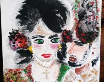 Flamenco, Acrylic paint, collage