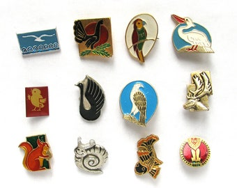 Animals, Birds, Badge, Pick from Set, Fauna, Vintage collectible badge, Soviet Vintage Pin, Soviet Union, Made in USSR, 1980s