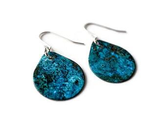 Turquoise Earrings, Sterling Silver Earrings, Patina Earrings, Blue patina earrings, verdigris earrings