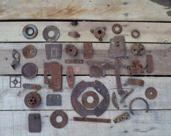 37 rusty crusty metalfound objects for assemblage altered art industrial steampunk bits and pieces