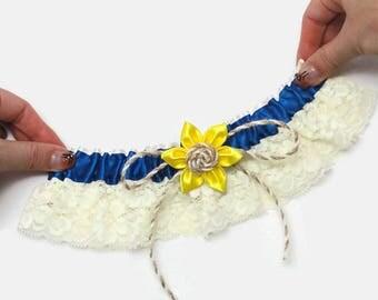 sunflower wedding, sunflower garter, rustic blue garter, royal blue garter, wedding garter set, sunflower blue bridal, fall wedding garter
