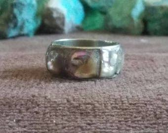 Vintage Abalone Tiled Ring Band 9.5 mm wide -- Size 10