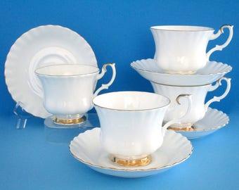 Set of 4, Royal Albert England White ValD'or Bone China Tea Cup and Saucer Set