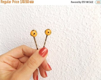 Glass Bobby Pins Womens Gift Fused Glass Hair Pin Orange Bobby Pin Set of 2 Hair Pins for Girls Cheap Gift Bobbypins Pair of Hairpins Hippie