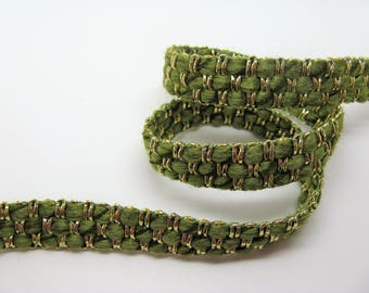 Woven trim with gold lurex thread and light khaki woolly yarn - ref 28