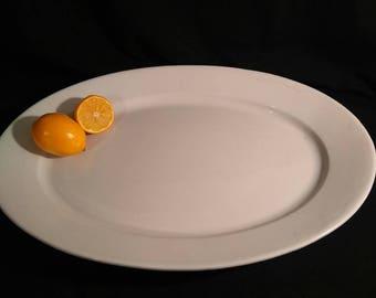 "Extra Large White ironstone Platter, 19.5"" X 13""/ Turkey Platter, Farmhouse Platter, Heavy"