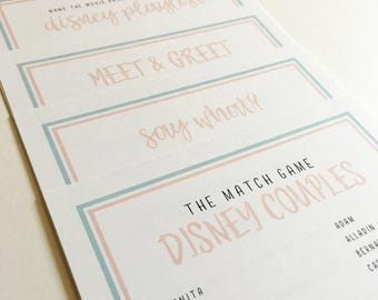 Printed Disney Inspired Bridal Shower & Bachelorette Party Game Pack of 5 | Walt Disney World + Disneyland Brides | Answer Sheet Included