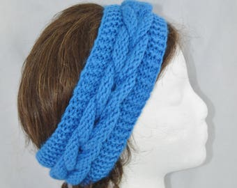 Womens Cable Knit Headband, Blue Winter Headband, Hand Knit Chunky Ear Warmer, Valentines Day Gift Idea