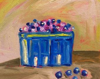 Original Oil Painting - Blue bottle ,Still life Impressionism