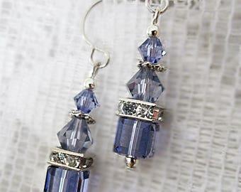 Crystal Earrings, Tanzanite Crystal Earrings, Crystal Cube Dangles, Crystal and Rhinestone Earrings, Crystal Jewelry, Lavender Cube Dangles