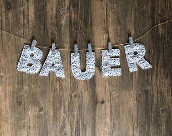 Fabric Letters, applique letters, banner letters, letter garland, birthday letters, nursery letters