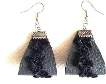 Gray lace leather earrings black