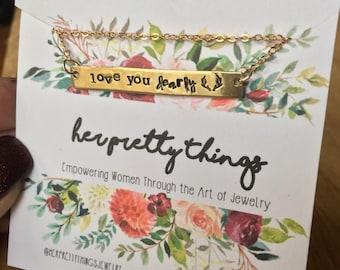 Love You Dearly Antler Handstamped Bar Necklace    Sweetheart    Valentine   