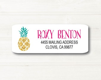 Gold Pineapple, Teal Leaves, Pink Name Font, Return Address Label, Custom, MATTE, Fruit, Festive