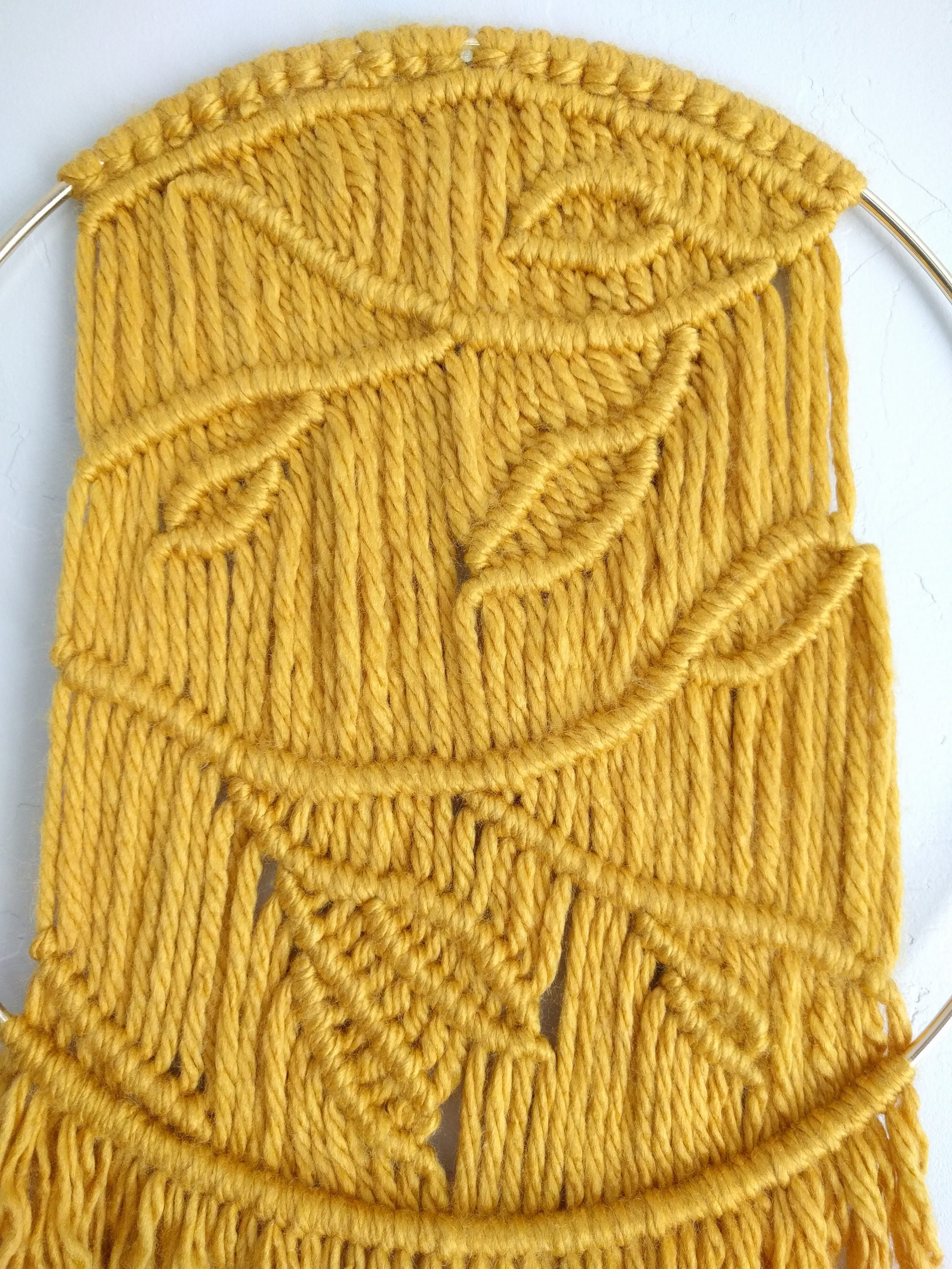 Modern Macramé Wall Hanging, Hygge, Mustard, Gold Ring, Branches ...