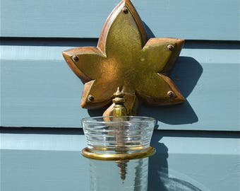 Antique Victorian wall mounted tooth brush holder candle holder bathroom container Maple leaf