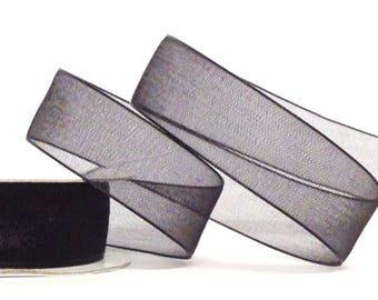15mm Black Organza Ribbon