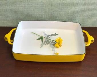 Danish Modern Bakeware, Dansk Kobenstyle Enamel Baking Pan, Small  casserole Baking Pan, Jens Quistgaard, Yellow Enamel Casserole Pan, gift