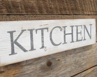 kitchen sign white reclaimed rustic wood rustic kitchen decor gray hand painted distressed shabby gifts under - Plywood Kitchen Decor