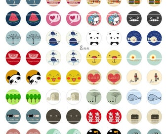 241 # patterns Vintage 96 Images/designs digital 8mm round cabochon