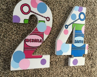 "13"" tall Custom Wood Numbers - Photo Props - Photo Shoot"