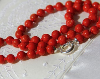 Coral necklace red Corsica exceptional quality (ec100)