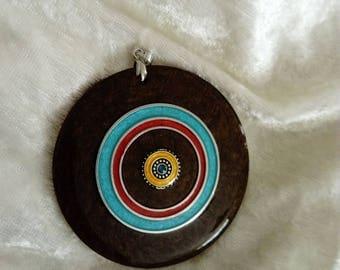 big pendant charm wood resinous handmade