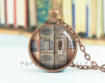 Library Necklace - Book Pendant - Book Necklace - Library Photo - Old Books Necklace - Reader Necklace  - (B3351)