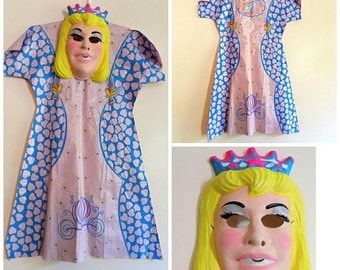 80s Cindarella Costume, Ben Cooper, Disney, Cinderella, Size Small, 4 to 6, 1981, 1980s, Girls Costume, Mask, Dress