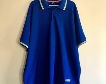 90s Lugz Sport Shirt, Royal Blue, Lime Green, 1990s, Hip Hop, Mens, Size XXXL, Size 3XL, Polo Shirt, Collared