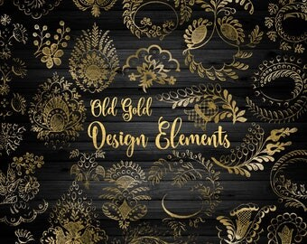 Old Gold Design Elements Clipart - vintage antique ornamental clip art, png commercial use instant download ornament, lace gold graphics